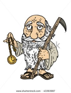 photo courtesy of shutterstock. Here, Father Time is a cross between Moses, the Rabbit from Wonderland, and the Reaper himself.